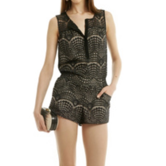 Black Lace Romper Twelfth Street Cynthia Vincent Nwt